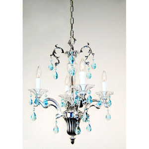 Via Firenze Silver Plate Four-Light Mini Chandelier with Sapphire Crystal Accents