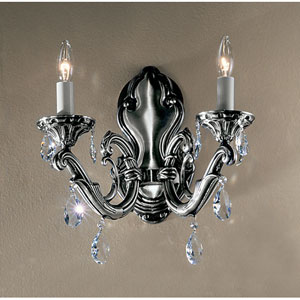 Princeton Millennium Silver Two-Light Wall Sconce with Swarovski Strass Crystal Accents