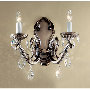 Princeton Roman Bronze Two-Light Wall Sconce with Swarovski Strass Crystal Accents