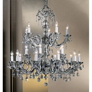 Princeton Millennium Silver Twenty-Light Chandelier with Swarovski Strass Crystal Accents
