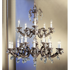 Princeton Roman Bronze Twenty-Light Chandelier with Swarovski Spectra Crystal Accents
