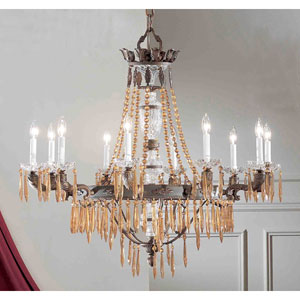 Duchess Aged Bronze Ten-Light Chandelier with Antique Italian Crystal Accents