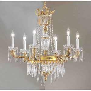 Duchess Bronze with Black Patina Six-Light Chandelier with Italian Crystal Accents