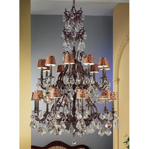 Majestic Aged Bronze Twenty-Light Chandelier with Crystalique Plus Accents