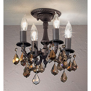Majestic Aged Bronze Semi Flush Mount with Strass Golden Teak Crystal Accents