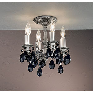 Majestic Aged Bronze Semi Flush Mount with Black Crystal Accents