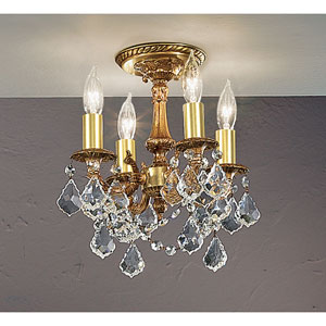 Majestic Imperial French Gold Four-Light Semi Flush Mount