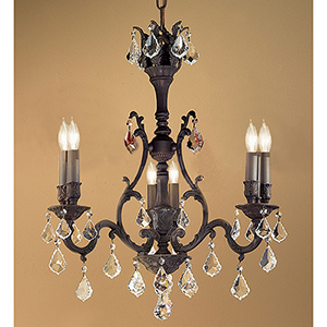 Majestic Crystal Black Aged Bronze Six-Light Chandelier