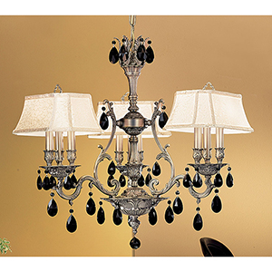 Majestic Aged Bronze Nine-Light Chandelier