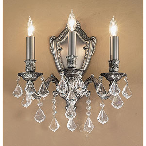 Chateau Aged Pewter Three-Light Wall Sconce