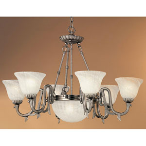 St. Moritz Pewter Eight-Light Chandelier with Glass Shades