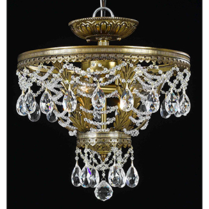 Contessa Renovation Brass Three-Light Semi-Flush Mount