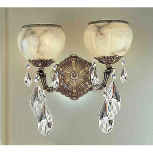 Alexandria Victorian Bronze Two-Light Wall Sconce with Crystal Accents