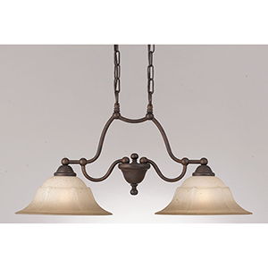 Providence Rustic Bronze Two-Light Island Pendant