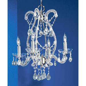 Aurora Chrome Four-Light Chandelier with Crystal Accents