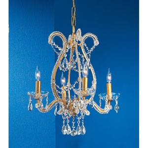 Aurora Olde Gold Four-Light Chandelier with Crystal Accents
