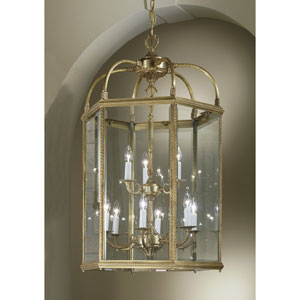 European Lanterns Matte Bronze Nine-Light Lantern Pendant