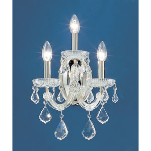 Maria Thersea Chrome Three-Light Wall Sconce with Swarovski Strass Crystal Accents