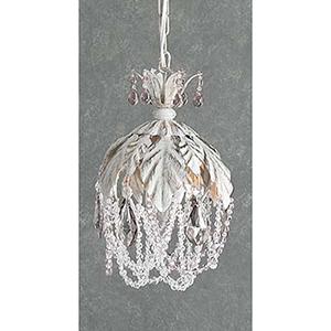 Petite Fleur Crystal Amethyst, Antique White One-Light Mini Pendant