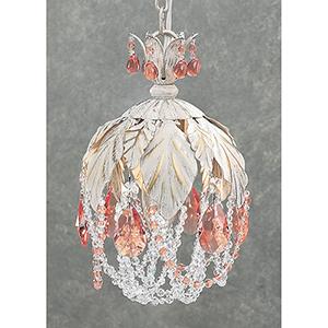 Petite Fleur Crystal Amber, Antique White One-Light Mini Pendant