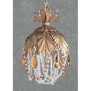 Petite Fleur Crystal Amber, Olde Gold One-Light Mini Pendant