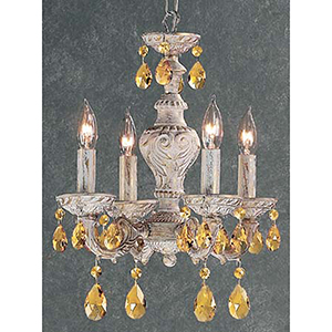 Gabrielle Antique White Four-Light Mini Chandelier