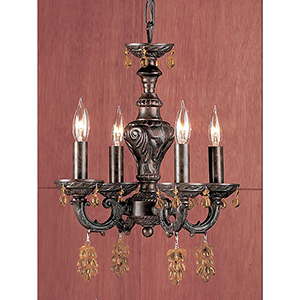 Gabrielle English Bronze Four-Light Mini Chandelier