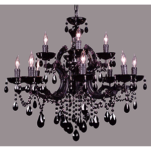 Rialto Traditional Black on Black Twelve-Light Chandelier