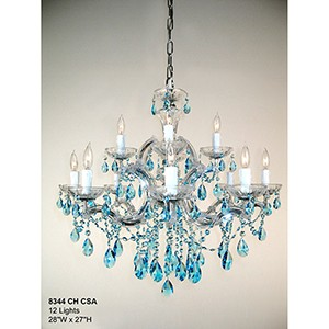 Rialto Traditional Crystal Sapphire, Chrome Twelve-Light Chandelier