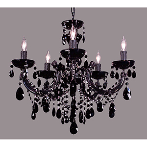 Rialto Traditional Black on Black Five-Light Chandelier
