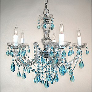 Rialto Traditional Crystal Sapphire, Chrome Five-Light Chandelier