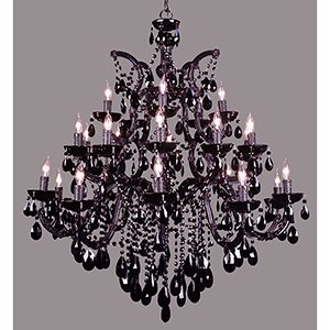 Rialto Traditional Black on Black Twenty-Five Light Chandelier