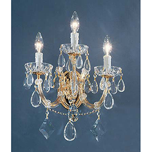 Rialto Contemporary Gold Plated Three-Light Wall Sconce