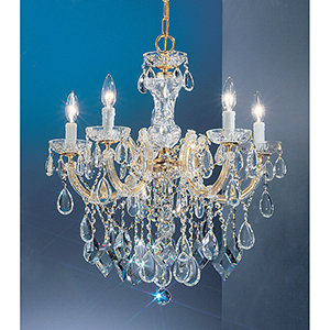 Rialto Contemporary Gold Plated Five-Light Chandelier