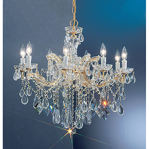 Rialto Contemporary Gold Plated Eight-Light Chandelier