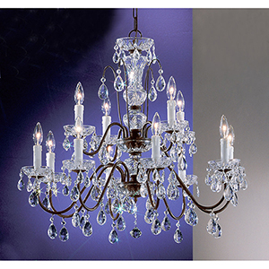 Daniele English Bronze Twelve-Light Chandelier