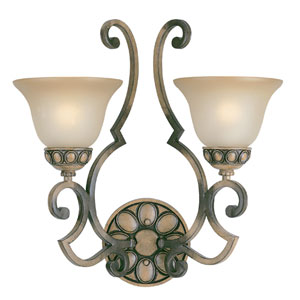 Westchester Honey Rubbed Walnut Two-Light Wall Sconce with Glass Shades