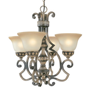 Westchester Honey Rubbed Walnut Four-Light Chandelier with Glass Shades