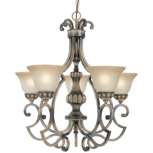 Westchester Honey Rubbed Walnut Five-Light Chandelier with Glass Shades