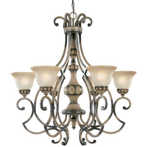 Westchester Honey Rubbed Walnut Six-Light Chandelier with Glass Shades
