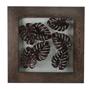 Leaves Wall Decor, Solid Wood Frame