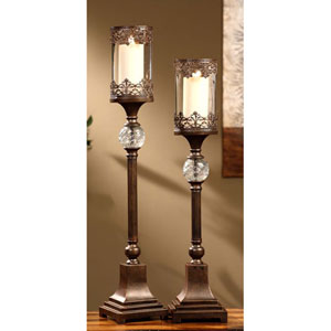 Regency Bronze Filigree and Glass Candleholders, Set of Two