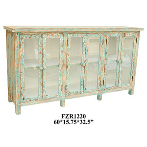 Dawson Creek Weathered Oak and Cyan Six-Door Sideboard