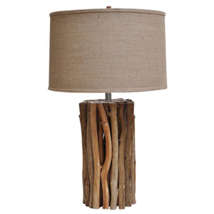 Natural Twigs Table Lamp With Burlap Shade