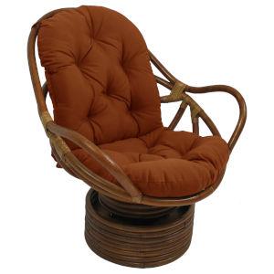 Cinnamon Rattan Outdoor Swivel Rocker with Fabric Cushion