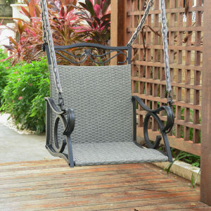 Valencia Gray Resin Wicker Hanging Chair Swing