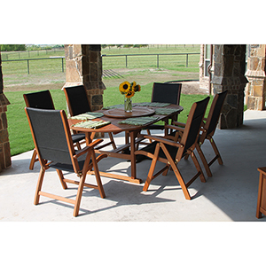 Segovia Brown Stain Eight Piece Patio Dining Set