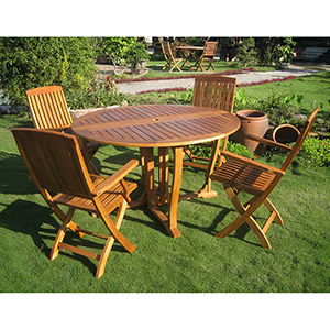Marbella Brown Stain Round Dining Set, Set of Five