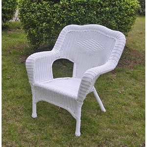 Camelback Resin Wicker Patio Chairs (Set of 2), White