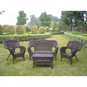 Four Piece Maui Outdoor Seating Group, Antique Pecan